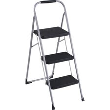 Three Step Big Step Folding Step Stool with Rubber Hand Grip