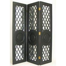 "78"" x 60"" Fenced Mirror 3 Panel Room Divider"