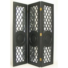 Fenced Mirror Room Divider in Black