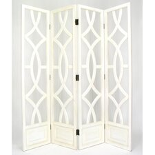 Charleston 4 Panel Room Divider in Distressed Whitewash
