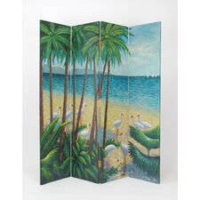 "76"" x 84"" Beach 4 Panel Room Divider"