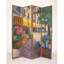 "72"" x 64"" Flower Market 4 Panel Room Divider"