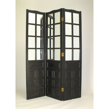 Black Wood - Carved Room Divider With Mirrors