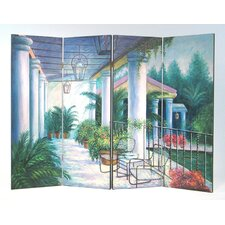 "36"" x 48"" Springtime on the Patio 4 Panel Room Divider"