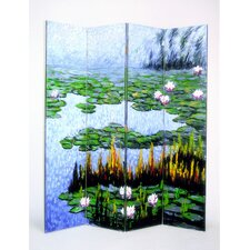 "72"" x 64"" Lily Pads in a Pond 4 Panel Room Divider"