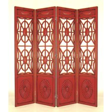 Four Panel Gothic Room Divider in Red
