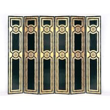 Classic Medallion 6 Panel Room Divider in Distressed Black/Gold