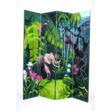 "<strong>Wayborn</strong> 72"" x 64"" Elephant in Jungle 4 Panel Room Divider"