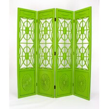 Spider Web 4 Panel Room Divider in Distressed Green