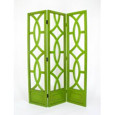 Charleston 3 Panel Room Divider in Distressed Green