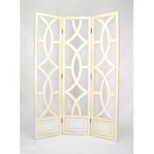 Charleston 3 Panel Room Divider in Distressed Whitewash