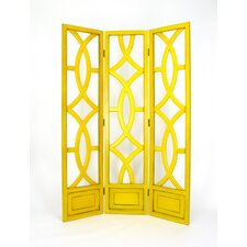 Charleston 3 Panel Room Divider in Distressed Yellow
