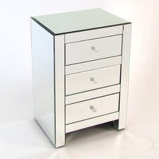 Beveled 3 Drawer Mirror Chest