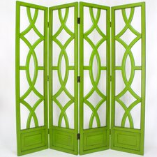 Charleston 4 Panel Room Divider in Distressed Moth Green