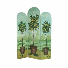 "72"" x 53"" Lemon Trees 3 Panel Room Divider"