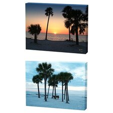 Beach and Sunset Trees Limited Edition by Scott J. Menaul 2 Piece Framed Photographic Print Set (Set of 2)