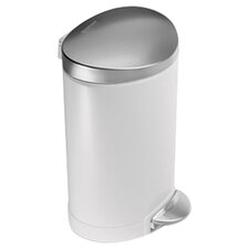 6 L / 1.6 Gal, Mini Semi Round Step Trash Can, White Steel
