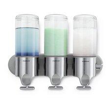 Wall Mount Pumps, Triple 15 fl. oz. Shampoo & Soap Dispenser, Stainless Steel