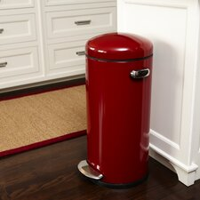 30 L / 8 Gal, Round Retro Step Trash Can, Red Steel