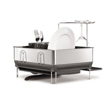 Compact Stainless Steel Frame Fingerprint Proof Brushed Dish Rack