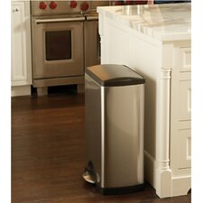 38 L / 10 Gal, Wide Step Rectangular Step Trash Can, Stainless Steel