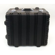 Heavy-Duty Polyethylene Case with Wheels and Telescoping Handle in Black: 17 x 19 x 11