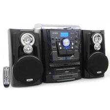 Bluetooth 3 Speed Turntable and 3 CD Changer Music System