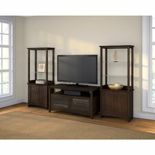 Buena Vista Entertainment Center with Tall Library Storage Cabinets