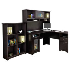 Cabot 3 Piece L Shaped Desk Set with Hutch and Bookcase