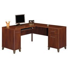 "Somerset 60"" W L-Shaped Desk with Keyboard Tray"