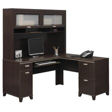 <strong>Bush Industries</strong> Tuxedo L-Shaped Executive Desk and Hutch
