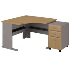 Series A Left Corner Desk with 3 Drawer File