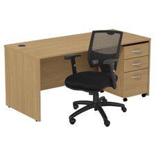 Series C Executive Desk with 3 Drawer File and Chair