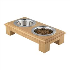Small Wooden Raised Double Dog Feeder