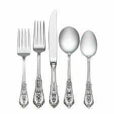 Rose Point 5 Piece Flatware Set with Cream Soup Spoon