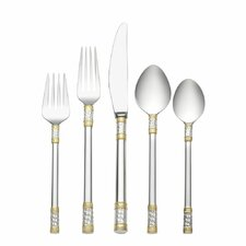 Aegean Weave Gold Accent 5 Piece Flatware Set