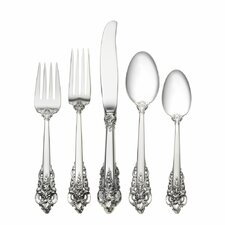 Grande Baroque 5 Piece Dinner Flatware Set with Dessert Spoon