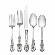 Rose Point 5 Piece Flatware Set with Dessert Spoon