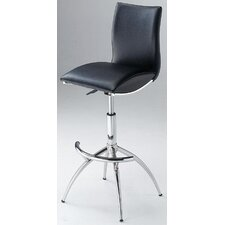 "26"" - 30.5"" Leatherette Swivel Barstool with Gas Lift in Black"
