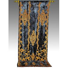 Tudor Applique Velvet  Rod Pocket Curtain Single Panel
