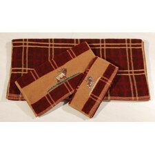 Embroidered Moose Plaid 3 Piece Towel Set