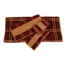 Embroidered Deer Plaid 3 Piece Towel Set