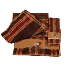 Embroidered Elk Stripe 3 Piece Towel Set