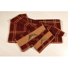 Embroidered Acorn Plaid 3 Piece Towel Set