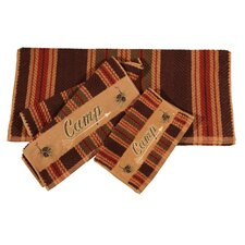 Embroidered Camp Stripe 3 Piece Towel Set