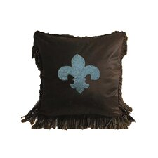 <strong>HiEnd Accents</strong> Cheyenne Faux Tooled Fleur De Lis Polyester Pillow