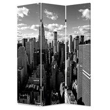 "72"" x 48"" New York Skyline Screen 3 Panel Room Divider"