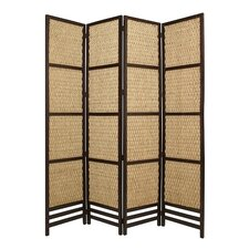 "97"" x 80"" Braided Rope Screen 4 Panel Room Divider"