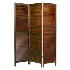 "73"" x 55"" Shutter Wooden Screen 3 Panel Room Divider"