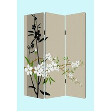 "<strong>Screen Gems</strong> 72"" x 48"" Plum Blossom Screen 3 Panel Room Divider"